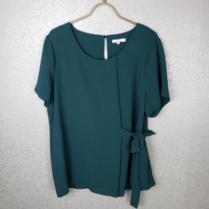 Pleione Side Tie Short Sleeve Top Size Large